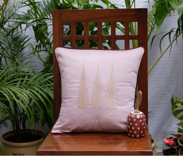 """Ashok Tree Embroidered Cushion Cover (12""""x12"""")"""