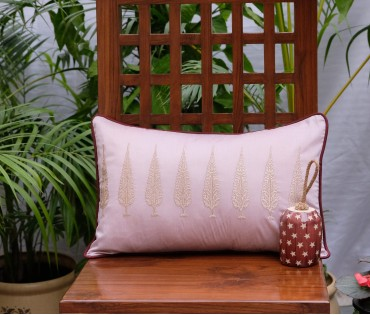 "Ashok Tree Embroidered Cushion Cover (12""x18"")"