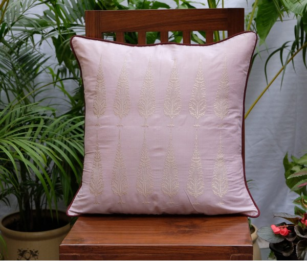 "ASHOK TREE EMBROIDERED CUSHION COVER (20""X20"")"