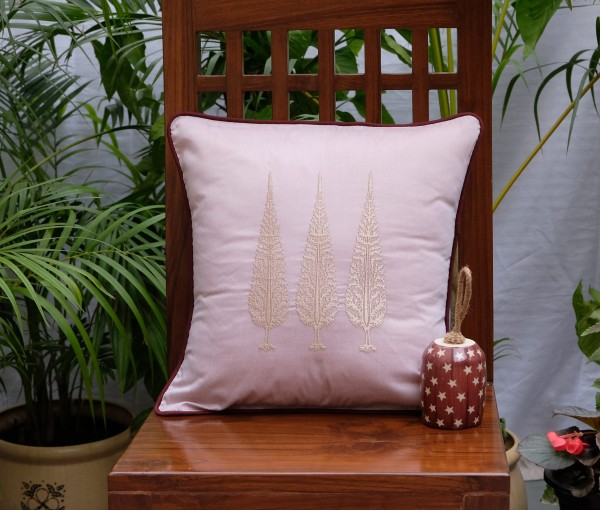 "ASHOK TREE EMBROIDERED CUSHION COVER (16""X16"")"