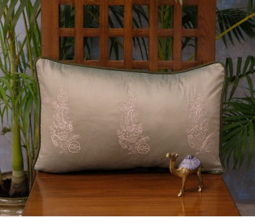 "Olive Tri-paisley Emb Cushion Cover Set Of 2 (12""x18"")"