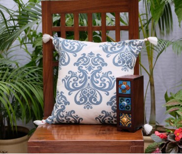 "DAMASK COTTON CUSHION COVER (16""X16"")"