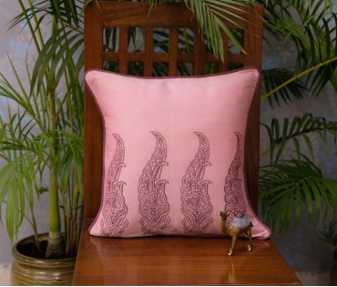 """Pink Tropical Emb Cushion Cover Set Of 5 (16""""x16"""")"""