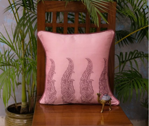 "PINK TROPICAL EMB CUSHION COVER SET OF 5 (16""X16"")"