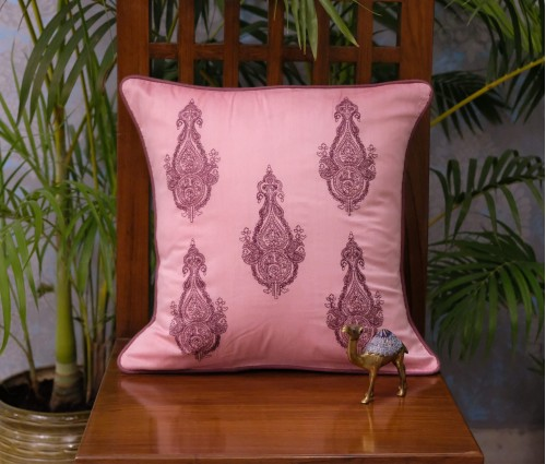 "Pink Paisley Emb Cushion Cover Set Of 5 (16""x16"")"