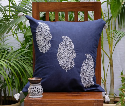 Navy Persian Paisley Emb Cushion Cover (50x50cm)