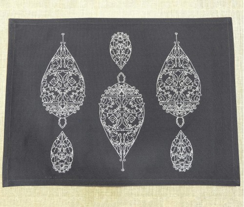 DARK GREY DEW DROP EMB TABLE MAT (Set of 6)