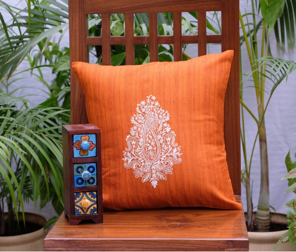 "ORANGE PAISLEY EMB CUSHION COVER (16""X16"")"