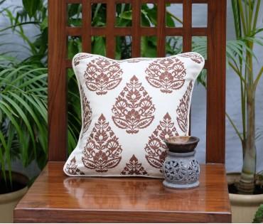 "Rajwarah Brown Print Cushion Cover (12""x12"")"