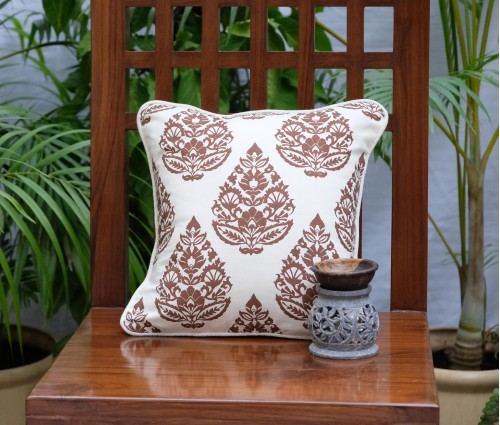 "RAJWARAH BROWN PRINT CUSHION COVER (12""x12"")"