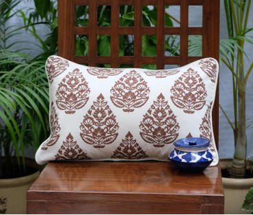 "Rajwarah Brown Print Cushion Cover (12""x18"")"