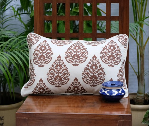 "Rajwarah Brown Print Cushion Cover (12""x18"")"