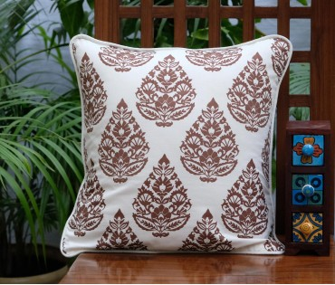 "Rajwarah Brown Print Cushion Cover (16""x16"")"