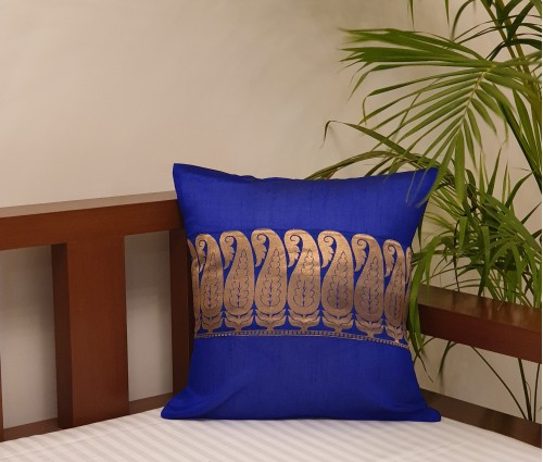 "Golden Paisley Blue Chanderi Cushion Cover (16""x16"")"