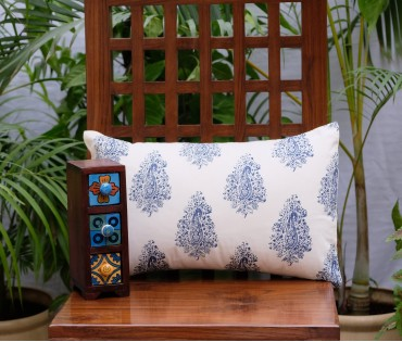 "Distress Paisley Cotton Cushion Cover (12""x18"")"