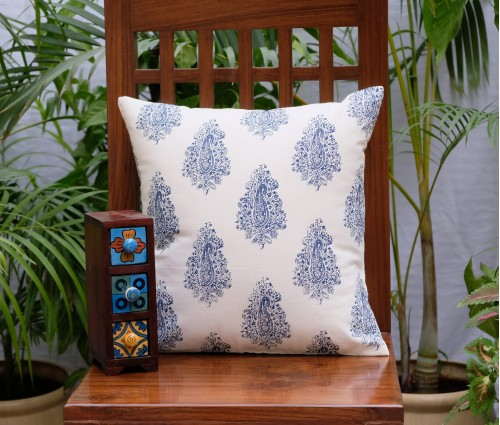 "Distress Paisley Cotton Cushion Cover (16""X16')"