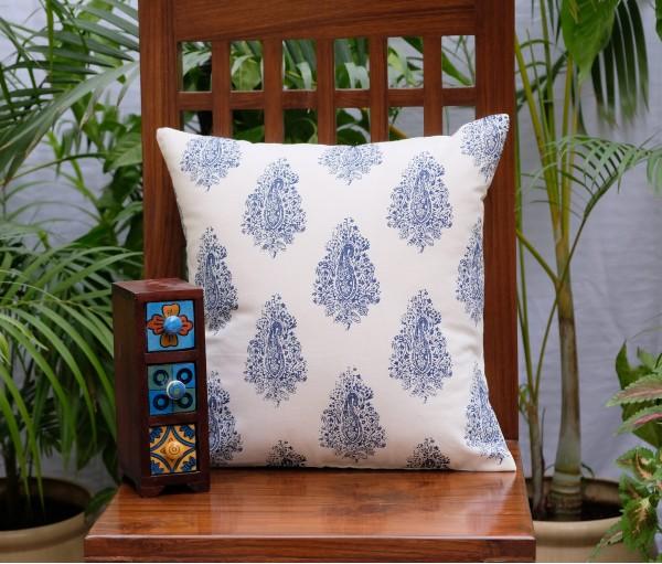 "Distress Paisley Cotton Cushion Cover (16""X16')"