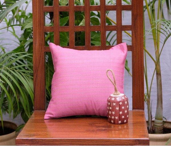 "Pink Kantha Cushion Cover (12""x12"")"