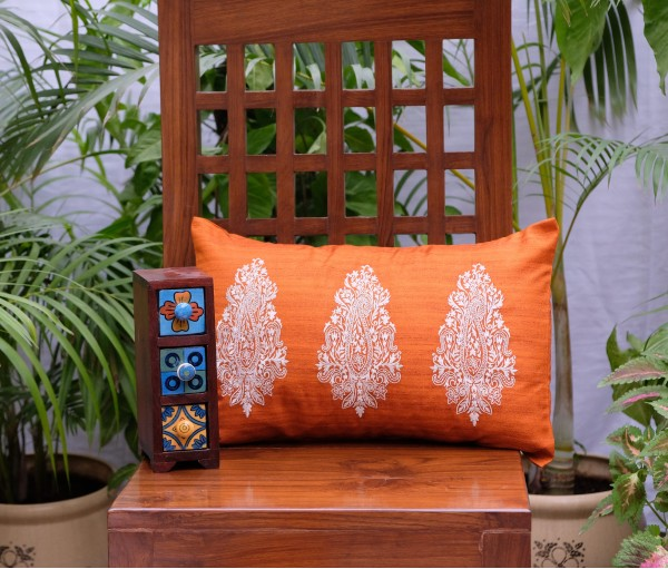 "Orange Paisley Emb Cushion Cover (12""x18"")"