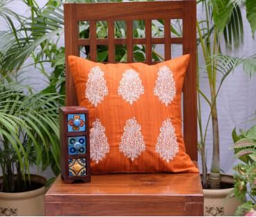 "Orange Multi Paisley Emb Cushion Cover (16""x16"")"