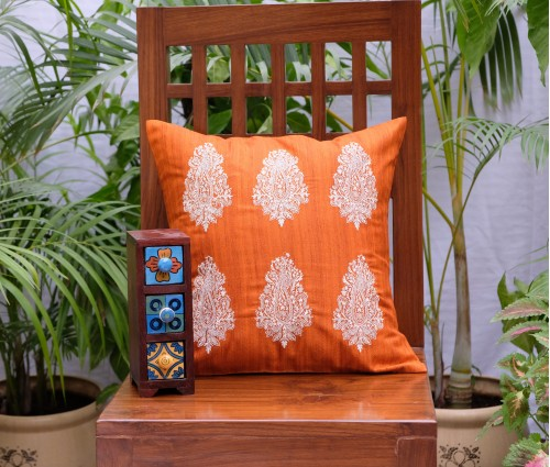 "ORANGE MULTI PAISLEY EMB CUSHION COVER (16""X16"")"