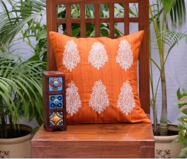"Orange Paisley Emb Cushion Cover (20""x20"")"