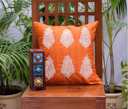 "Orange Paisley Emb Cushion Cover (20""x20"")"