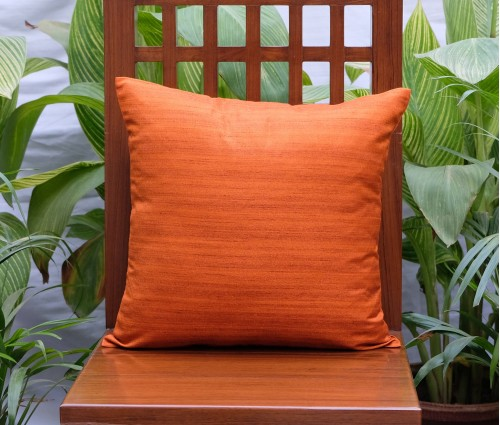 "Solid Orange Cotton Silk Blend Cushion Cover (16""x16"")"