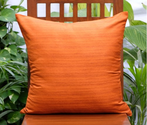 "Solid Orange Cotton Silk Blend Cushion Cover 20""x20"""