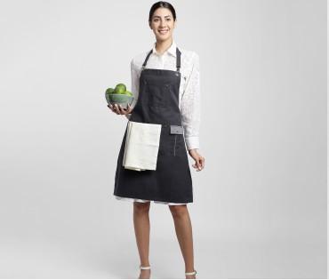 Dark Grey Multipurpose Cotton Apron with off white linen napkin