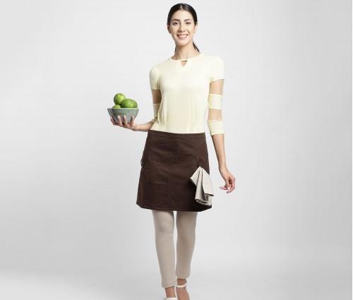 Dark Brown Multipurpose Cotton Skirt Apron with beige linen napkin