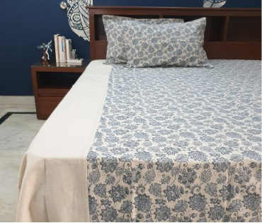 BLUE ZEHRAT CENTER PANEL COTTON LINEN QUEEN BEDSHEET
