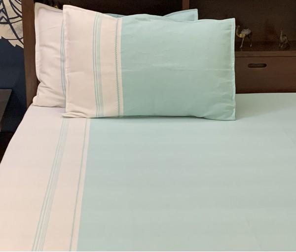 Turq Yarn Dye Cotton Queen Bedsheet
