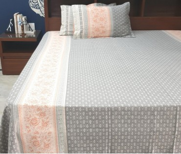 FLORAL JACQUARD COTTON KING BEDSHEET