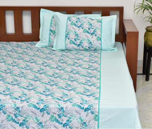 LIGHT GREEN TROPICAL FERN PRINTED COTTON KING BEDSHEET WITH 2 PILLOW COVERS