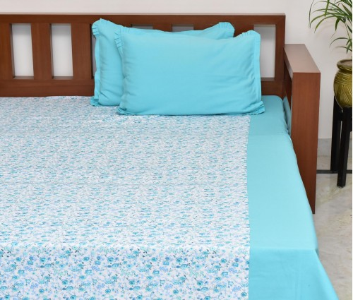 Light Blue Zehrat Printed Cotton Queen Bedsheet With 2 Pillow Covers