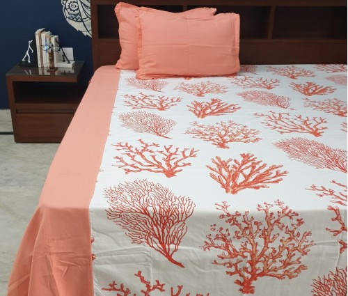 CORAL CENTER PANEL COTTON QUEEN BEDSHEET
