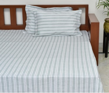 LIGHT GREEN STRIPE PRINTED COTTON LINEN KING BEDSHEET WITH 2 PILLOW COVERS