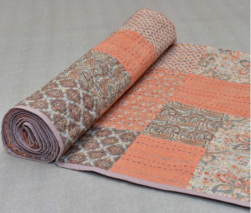 Grey & Peach Kantha Double Bed Dohar/comforter