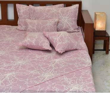 PINK & CREAM REVERSIBLE JACQUARD KING BEDCOVER SET (7 piece set)