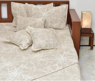 BEIGE & CREAM REVERSIBLE JACQUARD KING BEDCOVER SET (7 piece set)