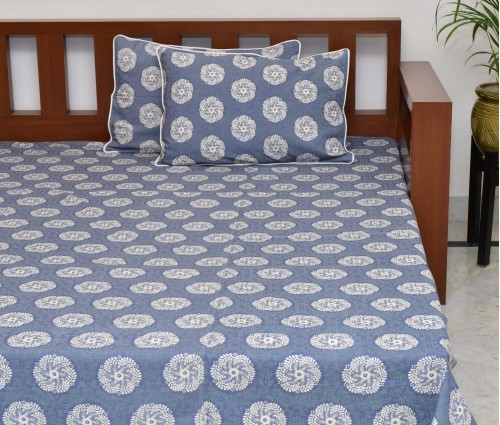 Grey & Green Circle Floral Printed Cotton King Bedsheet With 2 Pillow Covers