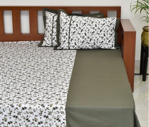 Olive Floral Printed Cotton King Bedsheet With 2 Pillow Covers