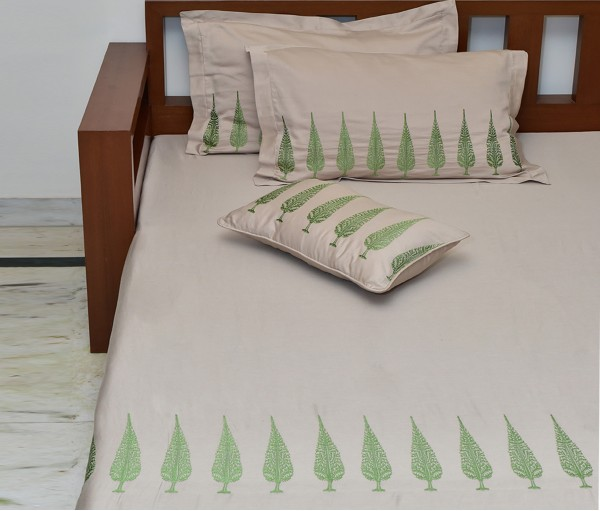 Beige Ashok Tree Embroidered King Cotton Satin Bedcover (4 Piece Set)