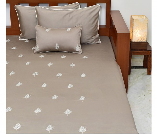 Light Brown Floral Embroidered King Cotton Satin Bedcover (4 Piece Set)