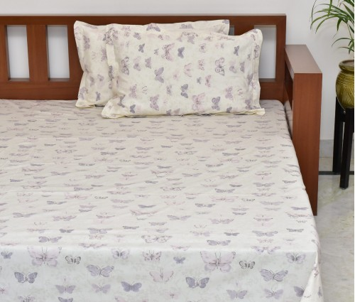 Butterfly Printed Cotton King Bedsheet With 2 Pillow Covers