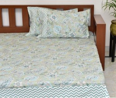PAISLEY PRINTED COTTON KING BEDSHEET WITH 2 PILLOW COVERS