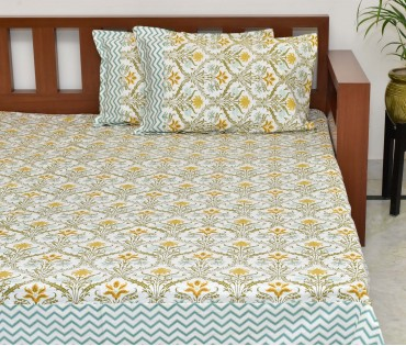 MOROCCAN PRINTED COTTON KING BEDSHEET WITH 2 PILLOW COVERS