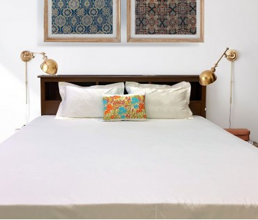 Off White Solid Cotton Satin King Bedsheet set with Embroidered Sham