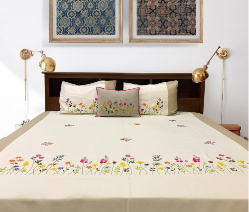 Ivory & Beige Hand Embroidered Cotton King Bedcover Set